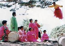 朝鲜族妇女在荡秋千